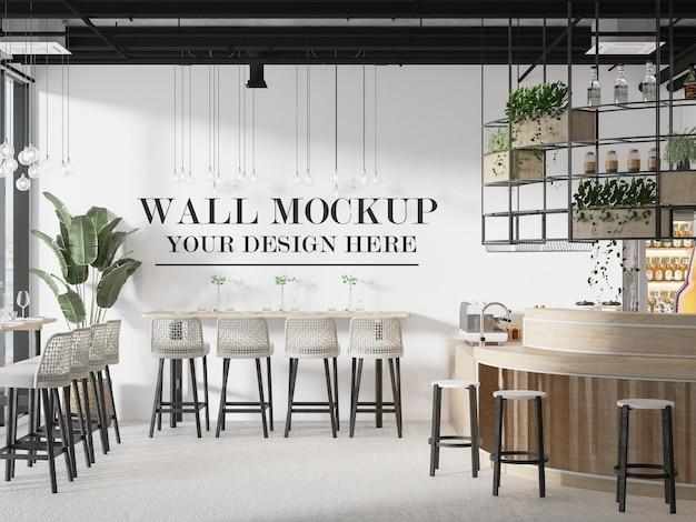 Maquette de mur de bar de café loft