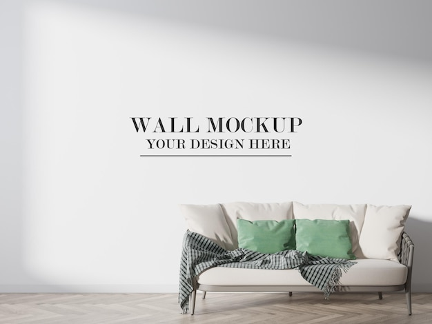 Maquette de mur blanc de rendu 3d derrière le canapé