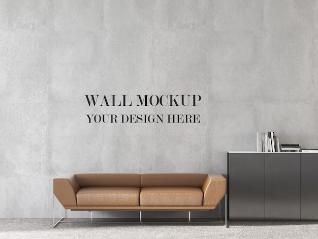 Maquette de mur de bureau design moderne avec canapé de couleur orange