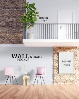Maquette de mur et de cadre - la chambre dispose d'un coin salon et d'un petit balcon