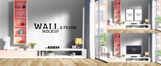 Maquette de mur et de cadre - la chambre moderne a une étagère suspendue rose