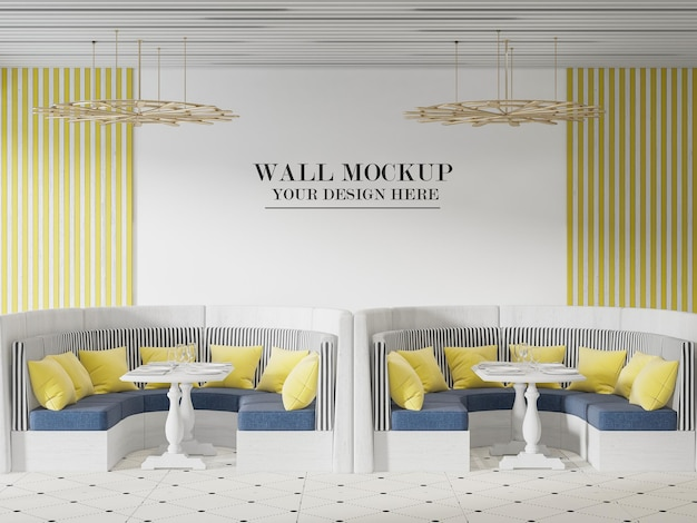 Maquette de mur de café ou de restaurant avec des meubles jaune bleu blanc