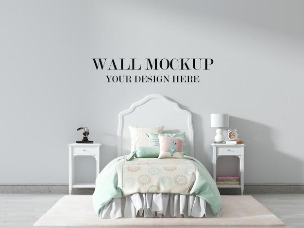 Maquette de mur de chambre d'enfant avec des meubles blancs