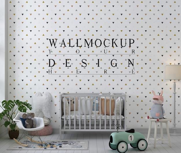 Maquette de mur dans la chambre de bébé blanche