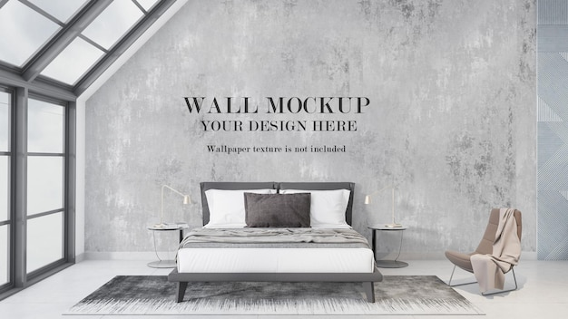 Maquette de mur dans la chambre avec de grandes fenêtres