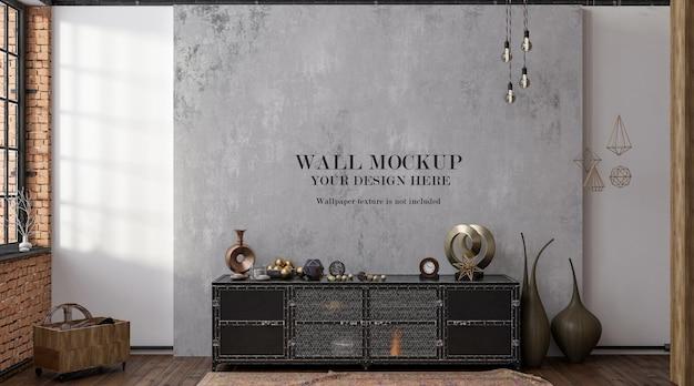 Maquette de mur derrière un vieux buffet en fer de style loft