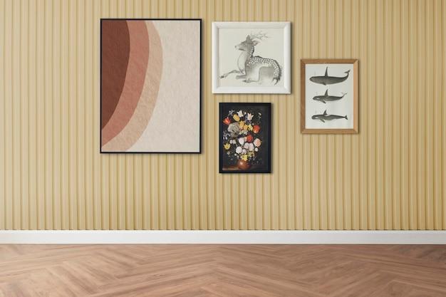 Maquette de mur de galerie psd accrochée à l'intérieur de la décoration intérieure de la chambre rétro