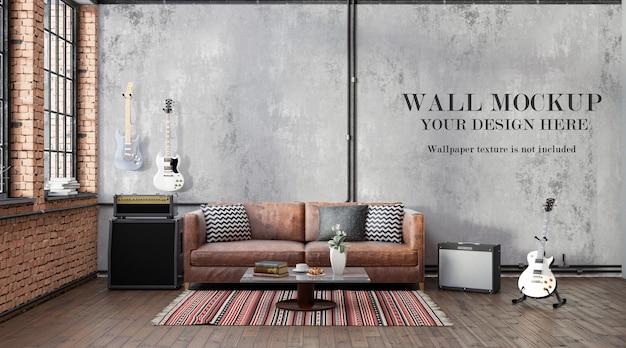 Maquette de mur intérieur loft de rendu 3d