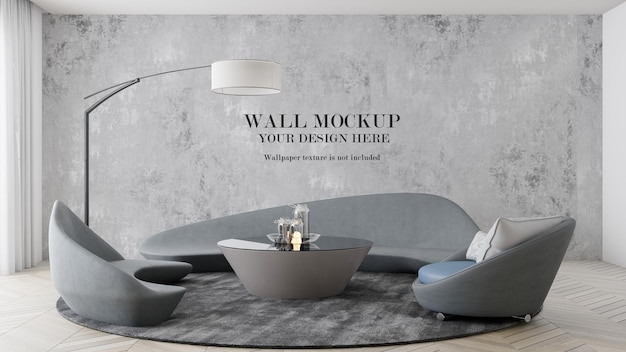 Maquette de mur à l'intérieur avec des meubles futuristes