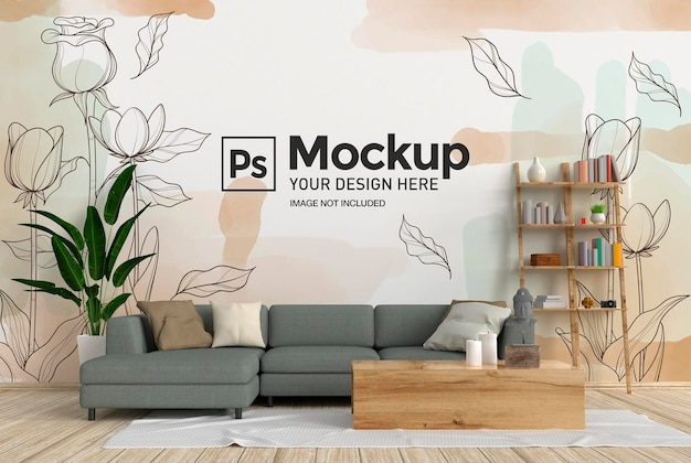 Maquette de mur intérieur de salon avec canapé et tapis