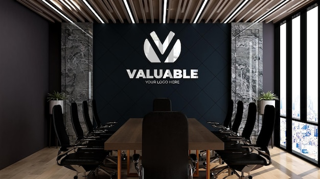 Maquette de mur de logo 3d dans la conception intérieure de salle de réunion en bois