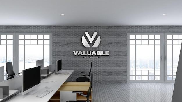 Maquette de mur de logo 3d dans l'espace de travail de bureau