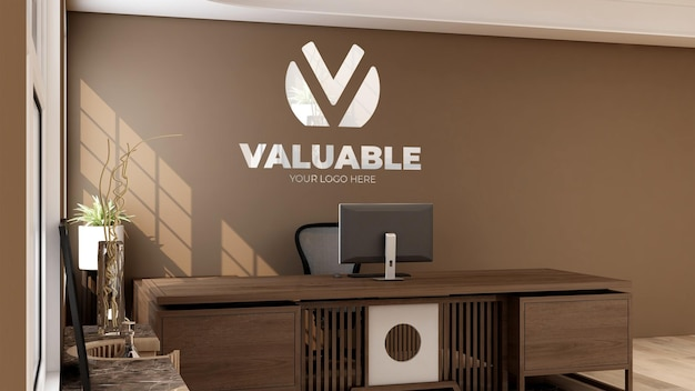 Maquette de mur de logo 3d dans la réceptionniste de bureau avec un design d'intérieur en bois de front