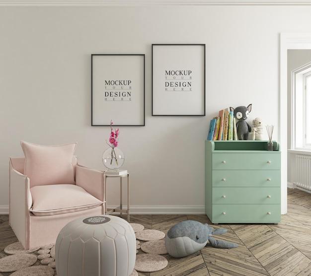 Maquette De Mur Et Maquette De Cadre D'affiche Dans Une Jolie Chambre D'enfant PSD Premium