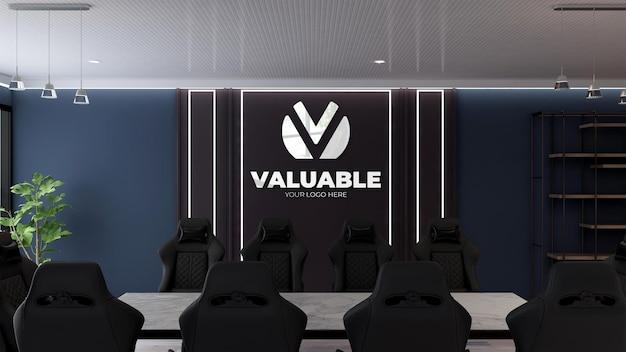 Maquette de mur noir de salle de réunion de conception moderne