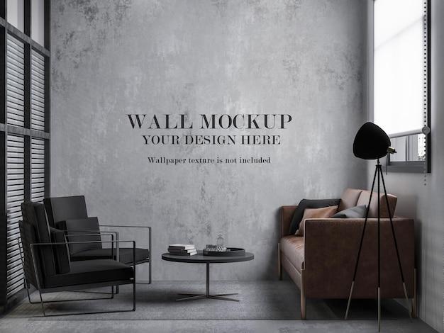 Maquette de mur de petite pièce de style loft