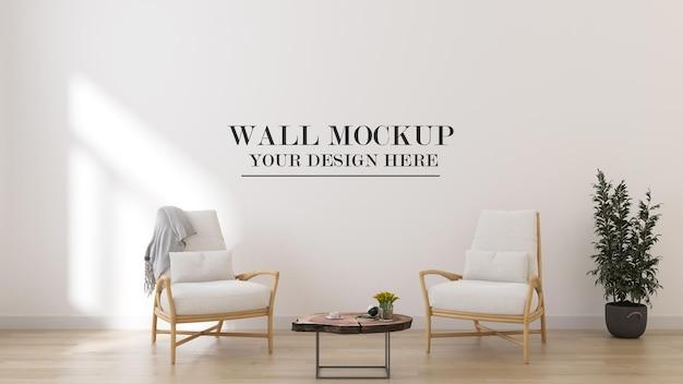 Maquette de mur de rendu 3d avec mobilier d'été à l'intérieur