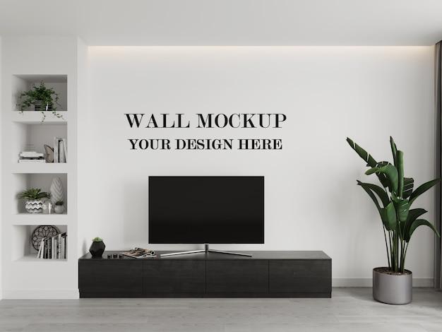 Maquette de mur avec rendu 3d tv et armoire