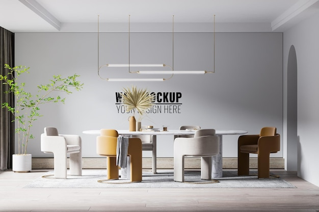 Maquette de mur de salle à manger intérieure