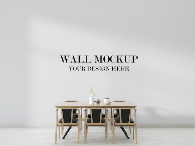 Maquette de mur de salle à manger avec table et chaises