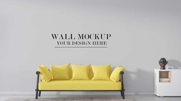 Maquette de mur de salon derrière un canapé jaune