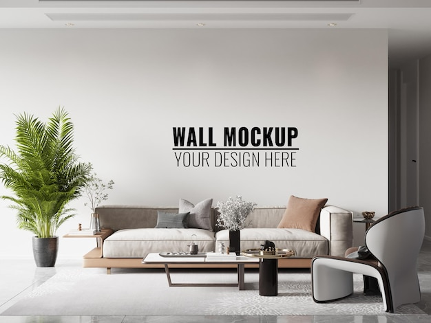 Maquette de mur de salon intérieur - rendu 3d