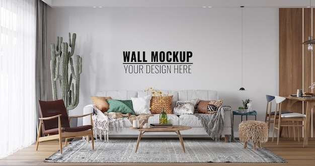 Maquette de mur de salon intérieur