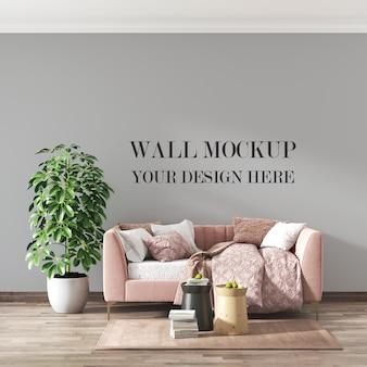 Maquette de mur de salon loft avec canapé et plante en pot