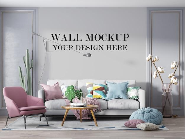 Maquette de mur de salon de luxe avec meubles