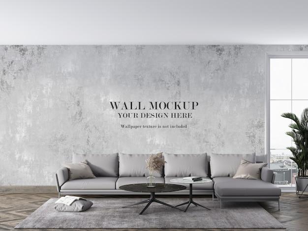 Maquette de mur de salon moderne avec des meubles