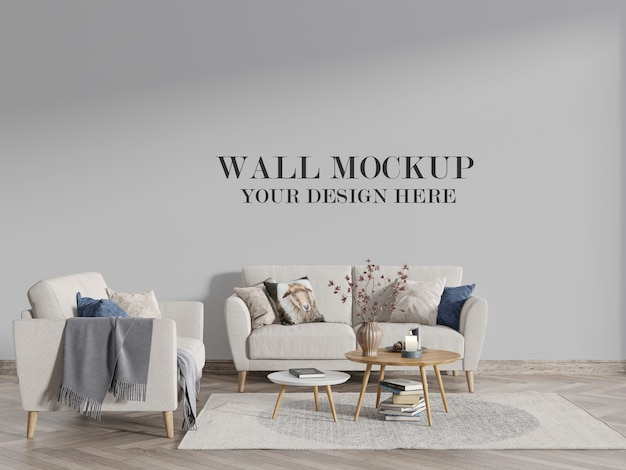 Maquette de mur de salon de style scandinave