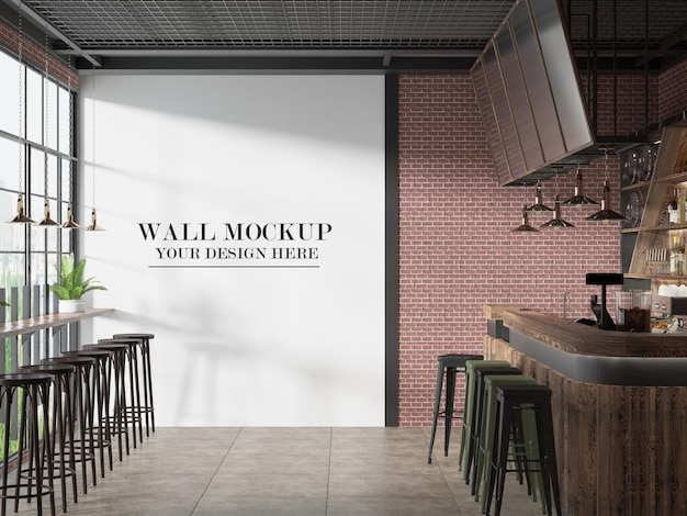 Maquette de mur de snack-bar de café