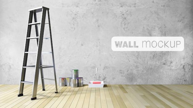 Maquette de mur vierge 3d et d'outils de peinture