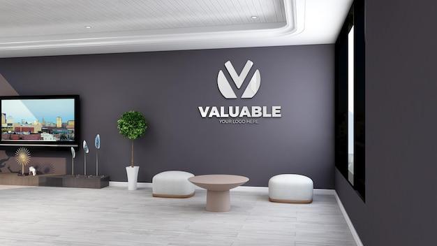 Maquette murale dans un élégant salon design d'intérieur 3d