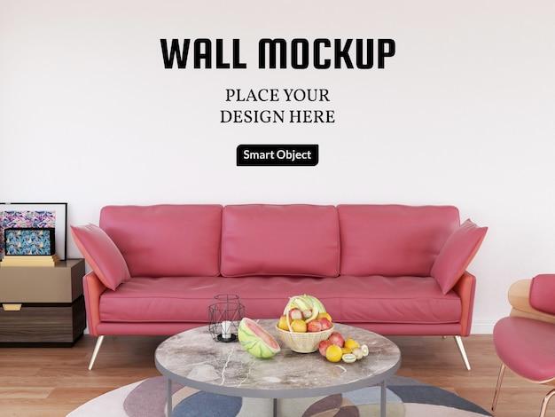 Maquette murale dans le salon avec canapé