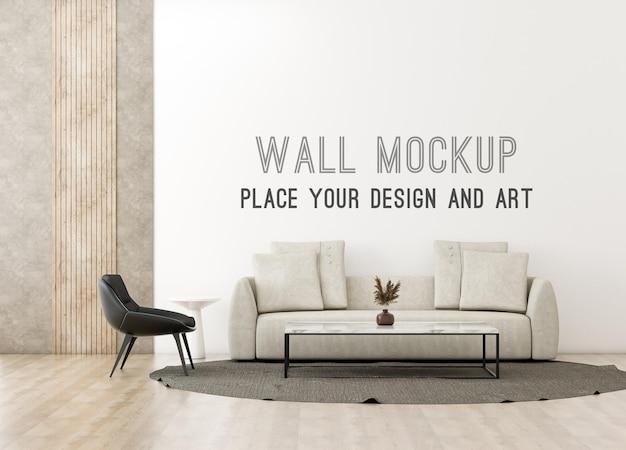 Maquette murale dans un salon moderne minimal avec des tons chauds et un mur loft