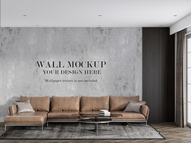 Maquette murale derrière un canapé d'angle en cuir