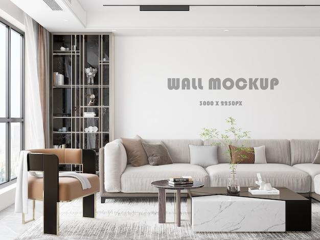 Maquette murale derrière le charmant canapé de la chambre de luxe