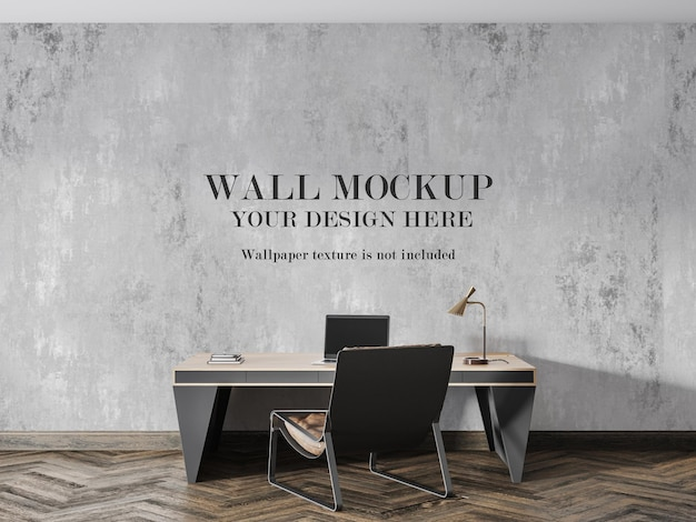 Maquette murale derrière un grand bureau avec lampe