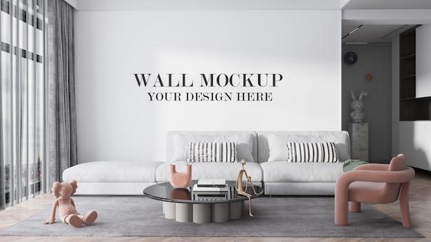 Maquette murale derrière un grand canapé