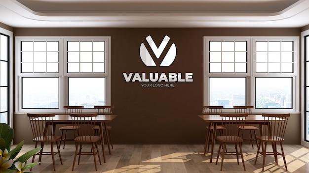 Maquette murale du logo 3d dans la salle du restaurant du bureau