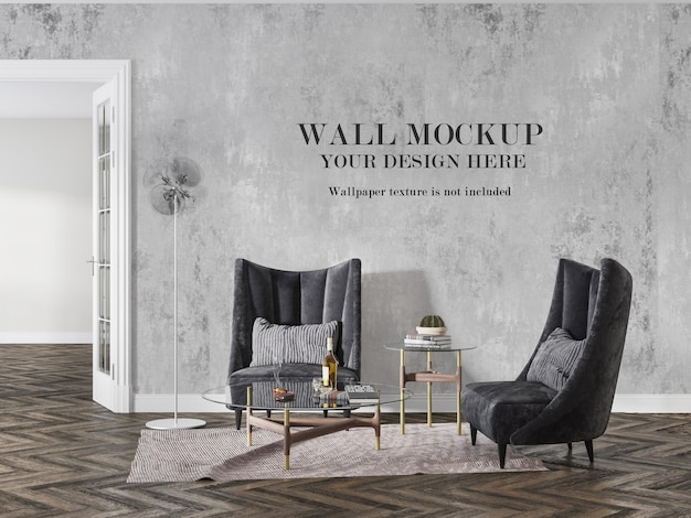 Maquette murale à l'intérieur avec fauteuils à dossier haut
