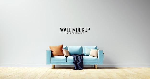 Maquette murale intérieure minimaliste avec canapé bleu