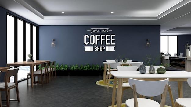 Maquette murale réaliste du logo 3d dans la salle du restaurant du bureau