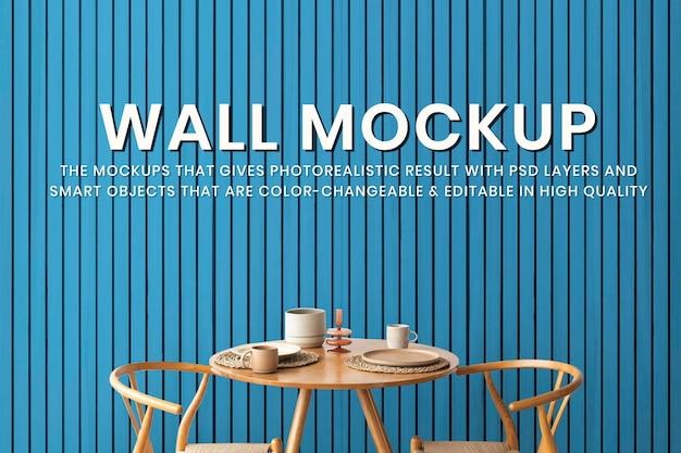 Maquette murale, salle à manger à la maison, psd intérieur minimal