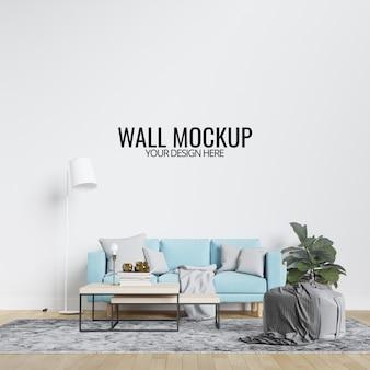Maquette murale de salon intérieur moderne avec meubles et décor