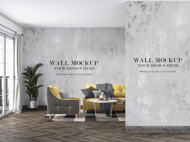 Maquette des murs intérieurs derrière le canapé et les meubles