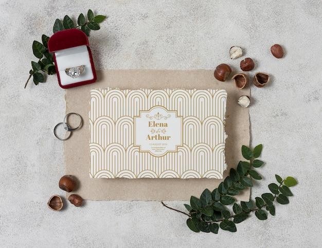 Maquette de nature morte de mariage avec conception d'invitation