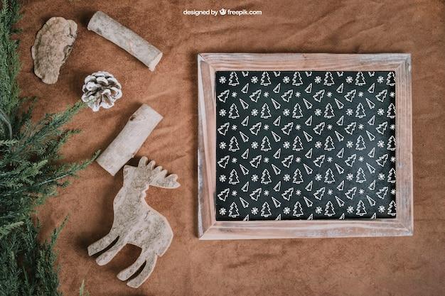 Maquette de noël avec ardoise et rennes