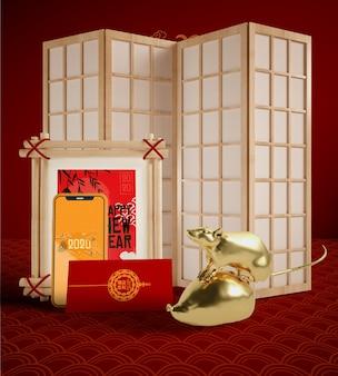 Maquette avec des objets traditionnels chinois